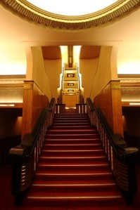 The staircase leading to the foyer at Liberty Cinema