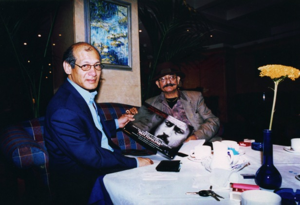 "Charles Sobhraj with Sorab Irani displaying the film poster ""Bottomline"" in London - 2002"
