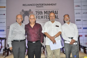 Amit Khanna, Trustee, MAMI, Ramesh Sippy, Trustee, MAMI, Shyam Benegal, Chairman, MAMI and Srinivasan Narayanana, Festival Director_At the curtain Raiser of 15th Mumbai Film Festival