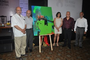 Shyam Benegal, Chairman of MAMI_Amit Khanna,Trustee, MAMI, Jaya Lamba, Artist, Ramesh Sippy, Trustee, MAMI, Srinivasan Narayanan, Festival Director, Mumbai Film Festival_ At the curtain Raiser of 15th Mumbai Film Fe
