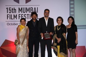 Tilotma Shome, Irrfan Khan, Anup Singh, Tisca Chopra and Rasika Dugal l_At the closing ceremony of 15th Mumbai Film Festival