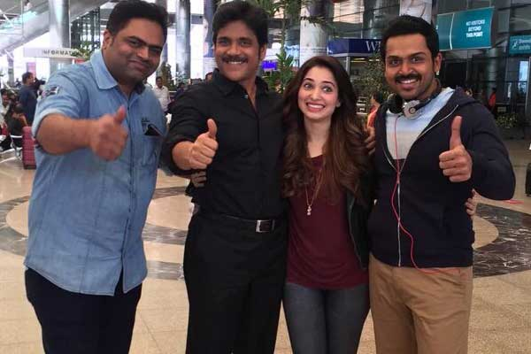 Vamsi Paidipally with Nagarjuna, Tamannaah and Karthi